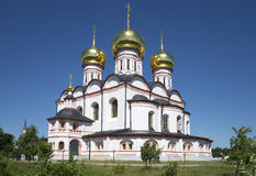 The old Cathedral of the Icon of the God Mother Iversky in the Svyatoozerskaya Valday Iversky monastery. Novgorod region Royalty Free Stock Images