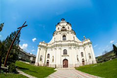 Old cathedral in Mykulynci vilage. Ukraine, Ternopil. Was build at 1779. Old barocco style stock photo