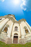 Old cathedral in Mykulynci vilage. Ukraine, Ternopil. Was build at 1779. Old barocco style royalty free stock photos
