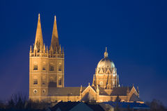 Old cathedral at night Royalty Free Stock Image