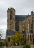 Old cathedral in spring Le Mans, side view Stock Photos