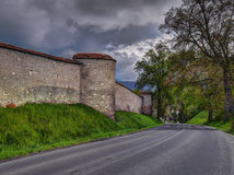 Old Cathedral wall and road Stock Photo