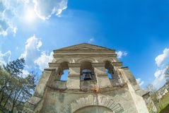 Old cathedral western Ukraine bell tower. Old cathedral western Ukraine Terebovlja district vilage loshniv bell tower royalty free stock images