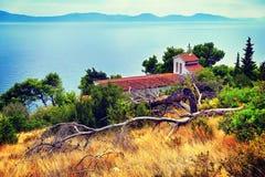 Old catholic church in Makarska. Makarska, Dalmatia, Croatia. In Stock Photo