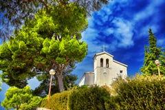 Old catholic church in mountain. Makarska, Dalmatia, Croatia Royalty Free Stock Photos