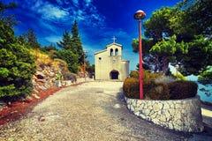 Old catholic church in mountain. Makarska, Dalmatia, Croatia. In Stock Image
