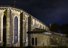 Old catholic church night view Stock Photos
