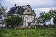 Old catholic church. Old ruined catholic church in western Ukraine village Royalty Free Stock Photography