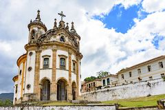 Old catholic church of the 18th century in colonial style. Located in the center of the famous and historical city of Ouro Preto in Minas Gerais stock images