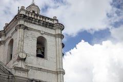 Free Old Catholic Church. White Stone Bell Tower On Blue Sky Background. Basilica De Santo Nino In Cebu Stock Images - 133909404