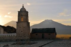 Old Catholic stone church in Sajama, Bolivia Royalty Free Stock Image