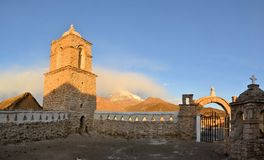 Old Catholic stone church in Sajama, Bolivia Royalty Free Stock Photography