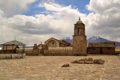 Old Catholic stone church in Sajama, Bolivia Stock Images