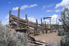 Old Cattle Chute in Central Oregon Desert. Old dilapitated cattle loading chute amongs the sage and rabbit brush in the Central Oregon desert Royalty Free Stock Photo