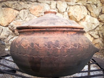 Old Cauldron over an Open Fire Stock Image