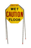 Old Caution Sign. Vintage Caution Wet Floor Sign Isolated on White Background Royalty Free Stock Photos