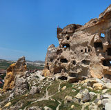 Old cave city in Cappadocia. Ancient cave city of Cavusin in Cappadocia, Turkey Stock Image