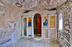 Old cave monastery. Section of a ruined old cave monastery Saint Dimitar Basarbowski in Bulgaria Stock Photo