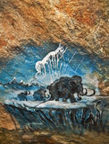 Old Cave Painting of Mammoth Family Royalty Free Stock Photography