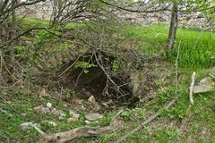An old cave in the woods on the ground. An old cave in the wood on the ground inside apuseni green travel river corridor deep landscape exploration geologic stock photo