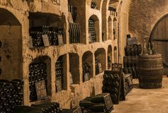 Old Caves Castellane Pupitres in Epernay. Epernay, France - June 10, 2017: Old champagne caves with `pupitres` at the Champagne House Castellane, France Stock Photo