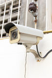 The Old CCTV Security Camera operating long time Stock Photography