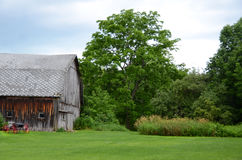 Old cedar sided country barn with red wheel carriage in front of Stock Images