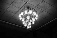 Old ceiling light lantern in the dark room black and white Royalty Free Stock Images