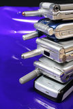 Old Cell Phones. A pile of old GSM Cell phones Royalty Free Stock Photos
