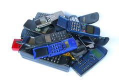 Old cell phones stock image