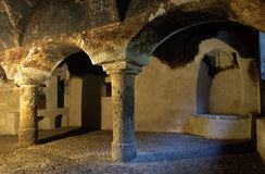 An old cellar. An old  and empty castle cellar Royalty Free Stock Photography