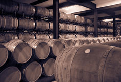 Old cellar with  barrels Royalty Free Stock Photos