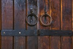 Old cellar door background made of wood with vintage lock. Old cellar door background made of wood with vintage metal lock Royalty Free Stock Photography