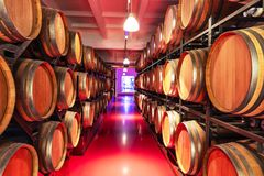 Old cellar with big wooden wine barrels Stock Images