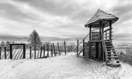 Old Celts settlement. Historic Celts settlement. Open-air museum Havranok in Slovakia. Winter countryside Stock Image