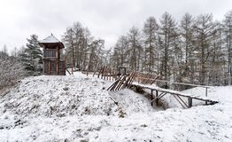 Old Celts settlement. Historic Celts settlement. Winter at open-air museum Havranok in Slovakia stock images