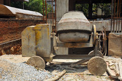 Old Cement mixer. An old cement mixer at a construction site in India Royalty Free Stock Photo