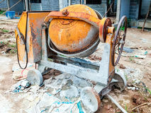 Old cement mixer. Machine in the construction site Royalty Free Stock Image