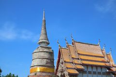 Old cement pagoda, Thai temple church, beautiful sky background, Buddhism, Thailand. Old cement pagoda thai temple church beautiful sky background buddhism stock photos