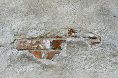 Old cement plaster and old red brick Stock Image