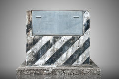 Old Cement podium and metal plate Royalty Free Stock Images