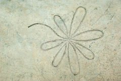 Old cement wall background with flower texture, vintage color ef Stock Photo