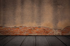 The old cement walls and wooden flooring. Royalty Free Stock Photography