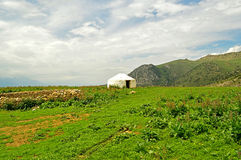 Old cement yurt in the valley Stock Photography