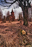 Old cemetery. Destroyed the old cemetery - the place of horror (HDR Royalty Free Stock Image
