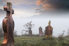 Old cemetery. Old, abandoned cemetery  on a coldm foggy morning Stock Image