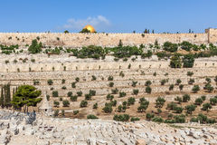 Old cemetery and ancient walls in Jerusalem, Israel. Royalty Free Stock Image