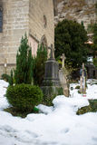 Old cemetery at cold winter day Royalty Free Stock Photos