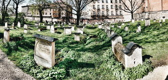Old cemetery in Cracow, Poland. Artistic look in vintage vivid colours. Royalty Free Stock Photo