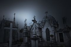 Old cemetery at dusk Royalty Free Stock Photography